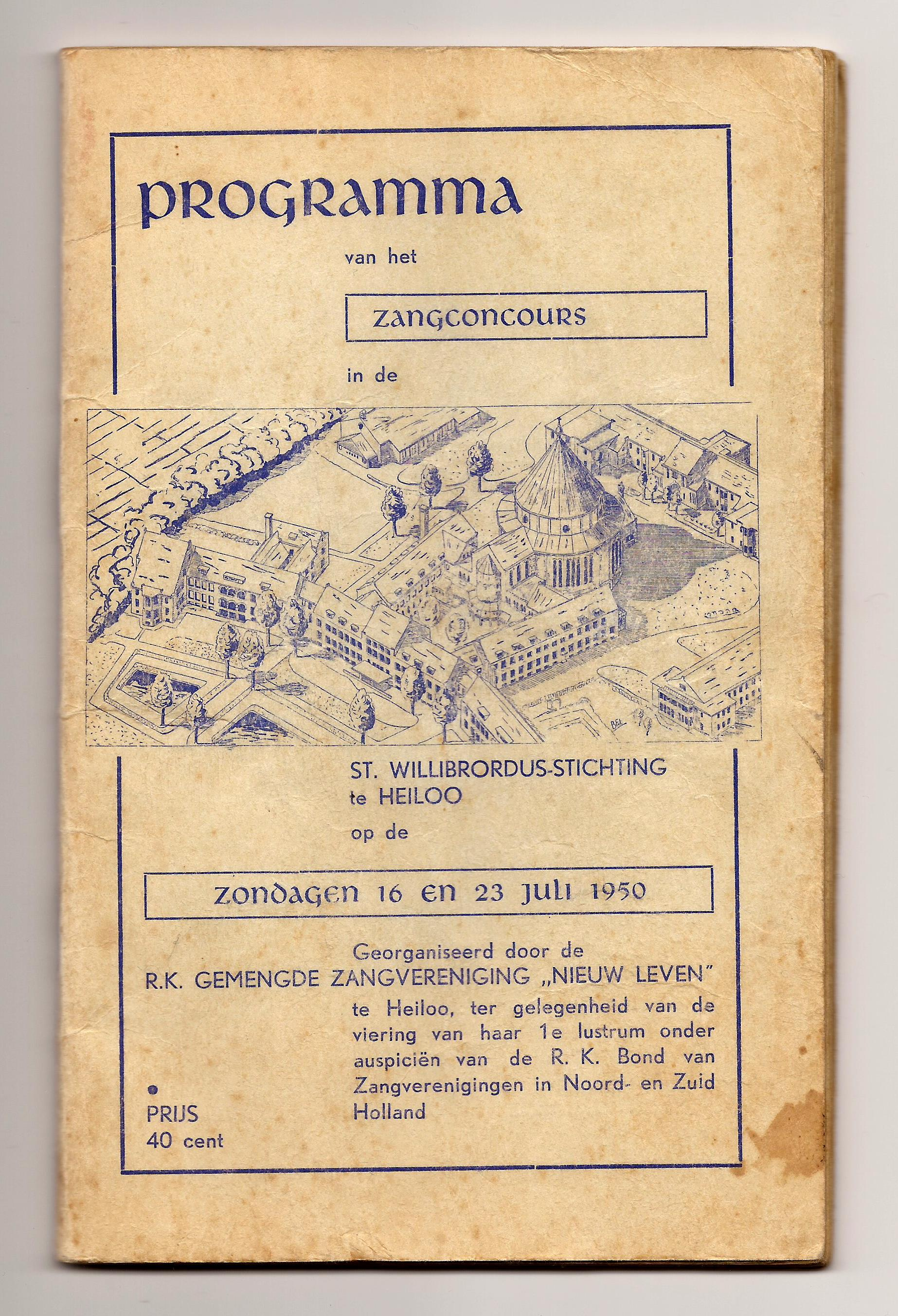 1950 Programmaboekje Zangconcours in Heiloo