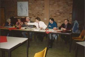 1991 Jaarvergadering in Open huis. V.l.n.r. Lies vd Bos, Anne K